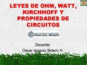 LEYES DE OHM WATT KIRCHHOFF Y PROPIEDADES DE