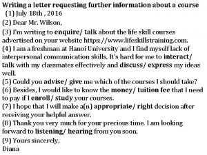 Writing a letter requesting further information about a