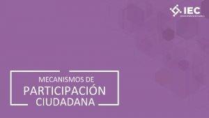 MECANISMOS DE PARTICIPACIN CIUDADANA Mecanismos de participacin ciudadana