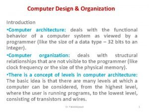Computer Design Organization Introduction Computer architecture deals with