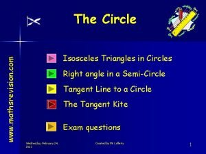 www mathsrevision com The Circle Isosceles Triangles in