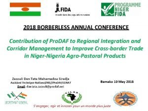 2018 BORBERLESS ANNUAL CONFERENCE Contribution of Pro DAF