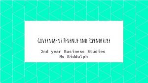 Government Revenue and Expenditure 2 nd year Business