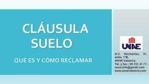 CLUSULA SUELO QU ES Y CMO RECLAMAR G