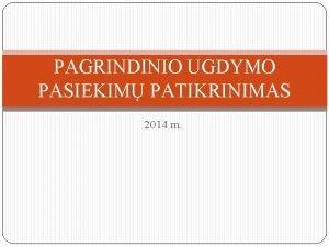 PAGRINDINIO UGDYMO PASIEKIM PATIKRINIMAS 2014 m PASIRENGIMAS PUPP