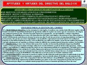 APTITUDES Y VIRTUDES DEL DIRECTIVO DEL SIGLO XXI