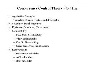 Concurrency Control Theory Outline Application Examples Transaction Concept