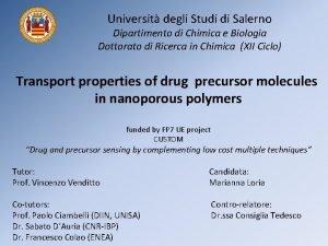 Universit degli Studi di Salerno Dipartimento di Chimica