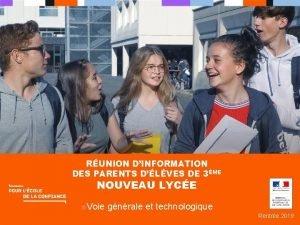 RUNION DINFORMATION DES PARENTS DLVES DE 3ME NOUVEAU
