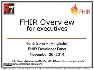 FHIR Overview for executives Ren Spronk Ringholm FHIR