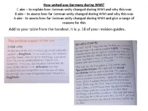 How united was Germany during WWI C aim