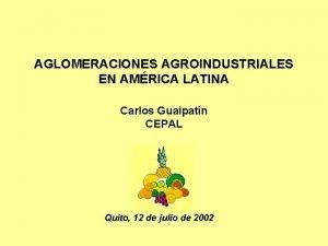 AGLOMERACIONES AGROINDUSTRIALES EN AMRICA LATINA Carlos Guaipatn CEPAL