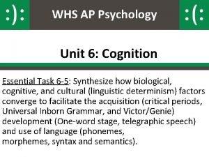 WHS AP Psychology Unit 6 Cognition Essential Task