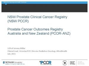 Medicine Nursing and Health Sciences NSW Prostate Clinical
