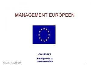 MANAGEMENT EUROPEEN COURS N 7 MarieJosphe NuelISEG2008 Politique