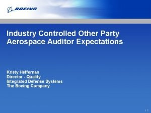 Industry Controlled Other Party Aerospace Auditor Expectations Kristy