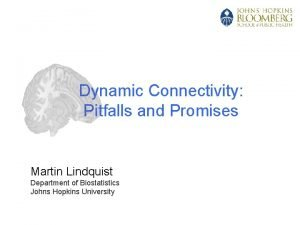 Dynamic Connectivity Pitfalls and Promises Martin Lindquist Department