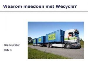 Waarom meedoen met Wecycle Naam spreker Datum Recycle