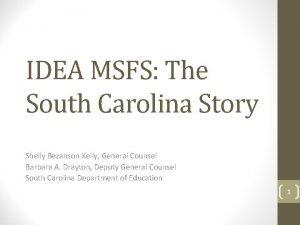 IDEA MSFS The South Carolina Story Shelly Bezanson