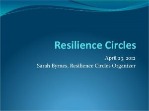 Resilience Circles April 23 2012 Sarah Byrnes Resilience