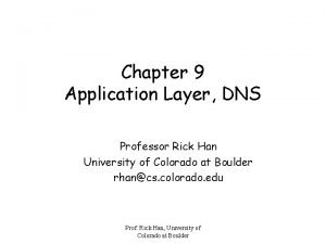 Chapter 9 Application Layer DNS Professor Rick Han