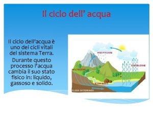 Il ciclo dell acqua Il ciclo dellacqua uno