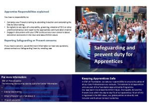 Apprentice Responsibilities explained You have a responsibility to