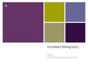 Annotated Bibliography GEP 101 Information gathered from Purdue
