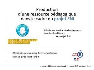 Production dune ressource pdagogique dans le cadre du