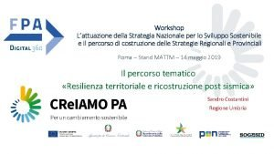 Workshop Lattuazione della Strategia Nazionale per lo Sviluppo