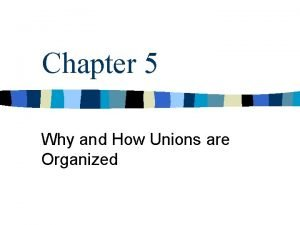 Chapter 5 Why and How Unions are Organized