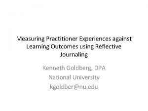 Measuring Practitioner Experiences against Learning Outcomes using Reflective