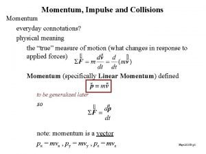 Momentum Impulse and Collisions Momentum everyday connotations physical