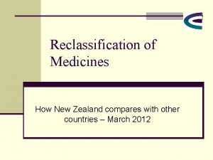 Reclassification of Medicines How New Zealand compares with