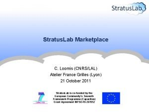 Stratus Lab Marketplace C Loomis CNRSLAL Atelier France
