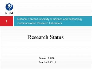 1 National Taiwan University of Science and Technology