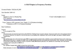 AMAP Region in Frequency Partition Document Number C