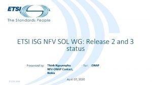 ETSI ISG NFV SOL WG Release 2 and