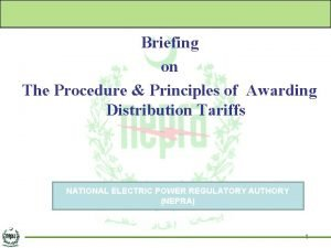 Briefing on The Procedure Principles of Awarding Distribution