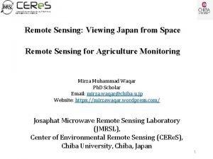 Remote Sensing Viewing Japan from Space Remote Sensing