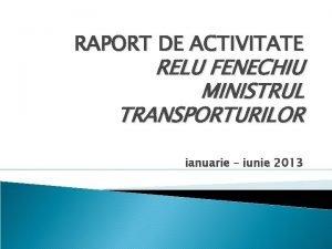 RAPORT DE ACTIVITATE RELU FENECHIU MINISTRUL TRANSPORTURILOR ianuarie