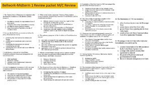 BellworkMidterm 1 Review packet MC Review Answers to
