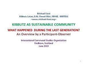 Michael Livni Kibbutz Lotan D N Chevel Eilot