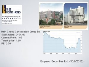 Hsin Chong Construction Group Ltd Stock quote 0404