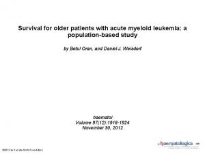 Survival for older patients with acute myeloid leukemia