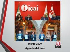 Marzo 2020 Agenda del mes Actividades del mes