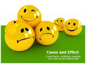 Cause and Effect Useful terms audience purpose and