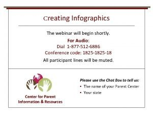 Creating Infographics The webinar will begin shortly For