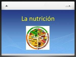 La nutricin definicin La nutricin es el proceso