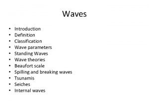Waves Introduction Definition Classification Wave parameters Standing Waves